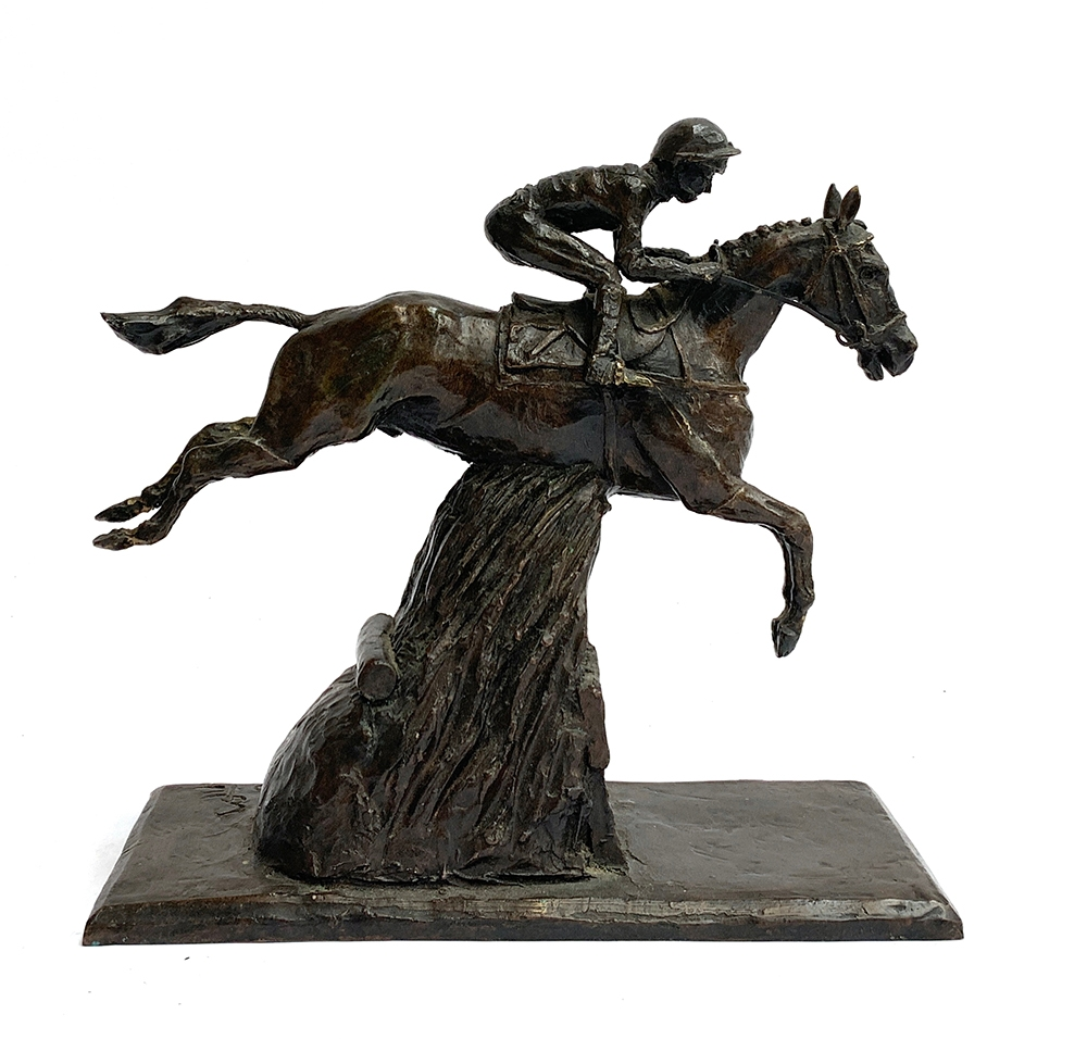 A bronze study of a steeplechaser, marked SE to base, 2000, 24cm high - Image 2 of 2