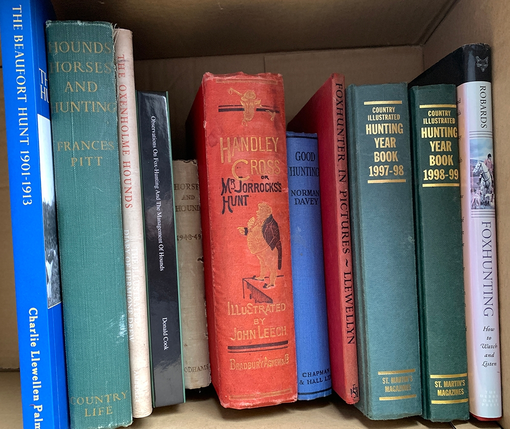 A mixed box of books on fox hunting, to include RS Surtees, Handley Cross; Francis Pitt, Hounds