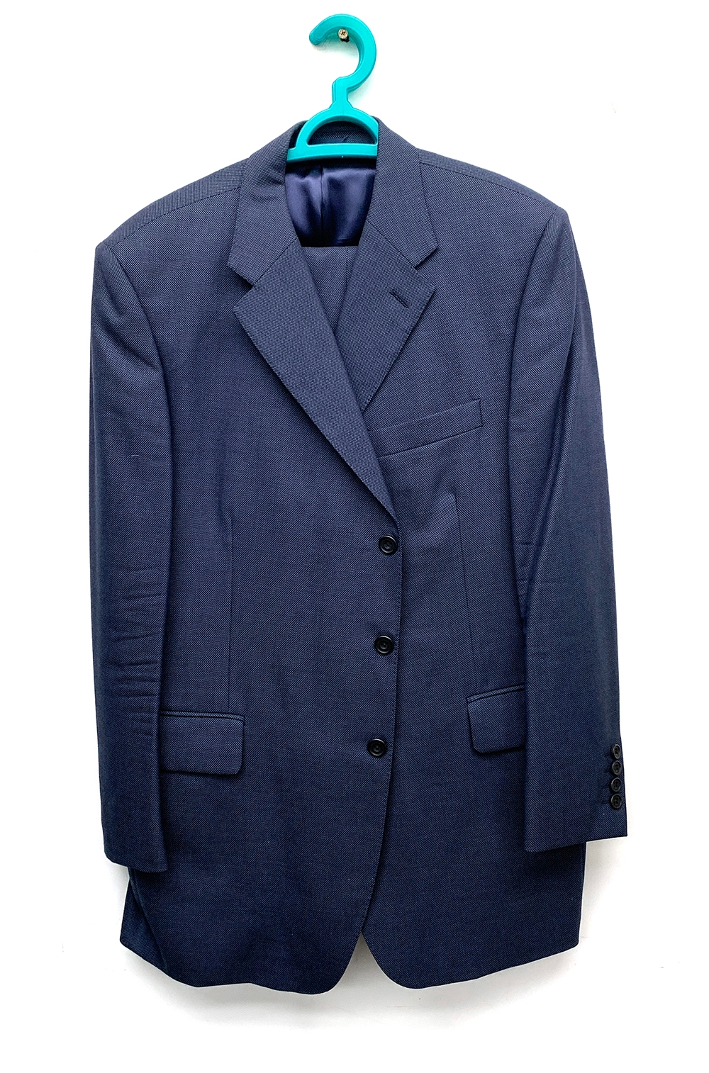 """A Gieves & Hawkes navy birdseye suit with two pairs of trousers, 44"""" chest"""