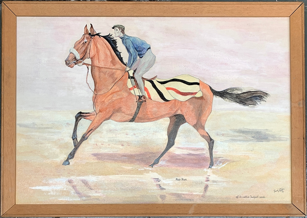 David Masters, Red Rum 1978, off to work on Southport Sands, oil on board, 31.5x46cm