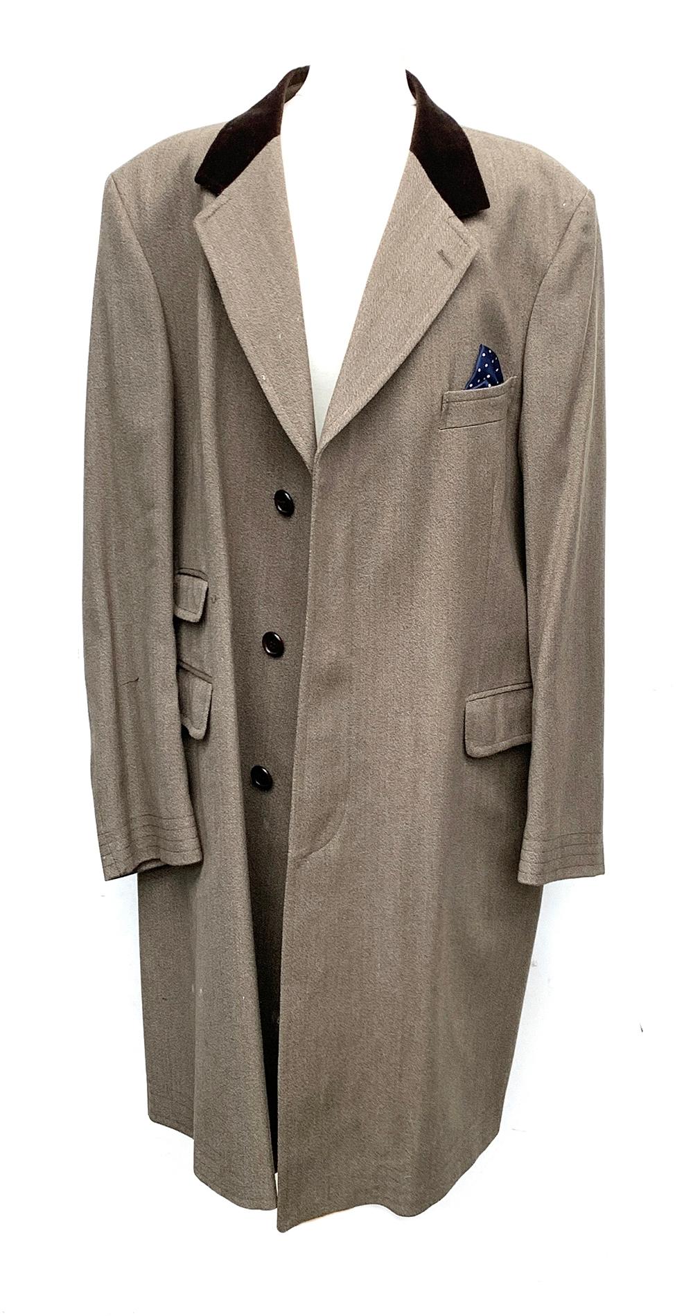 "A Grenfell wool covert coat with brown velvet collar, 46"" chest"