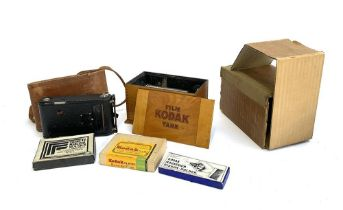 An early 20th century No.1 Kodak Junior Model A camera, with original leather case; together with