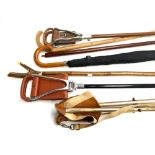 A Gamebird shooting stick and one other; thumb stick; umbrella, etc (7)