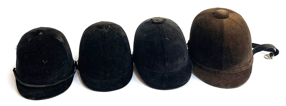 Four vintage riding caps including Harry Hall and Harrods (Christy's) (4)