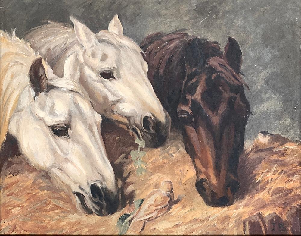 Joan Barrington (20th century British), horses at a manger, oil on canvas, monogrammed JB lower