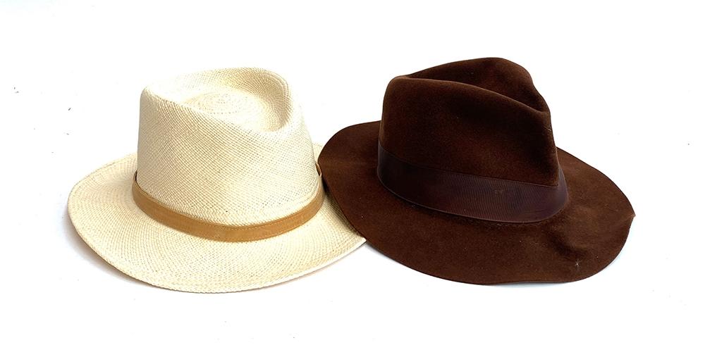 A Signes panama hat, size XL; a Herbert Johnson felt fedora, size 7 1/2 (2)