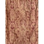 A pair of lined and interlined curtains, 290cm drop, approx. 330cm wide ungathered