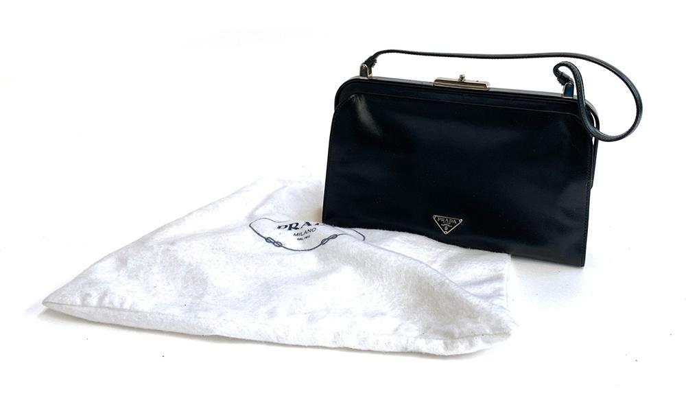 A Prada black leather handbag, with felt dust bag - Image 4 of 4