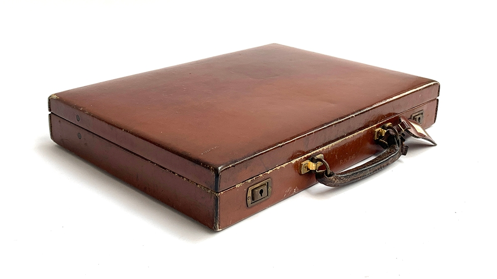 A gent's brown leather writing case, by Swaine, Adeney & Brigg, with fitted red leather interior, - Image 2 of 4