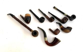 A collection of pipes, to include silver mounted Imperial ITC pipe; A Sherlock Holmes style pipe