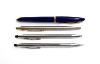A Waterman blue and gold trim ballpoint pen; together with a Cross ballpoint pen and mechanical