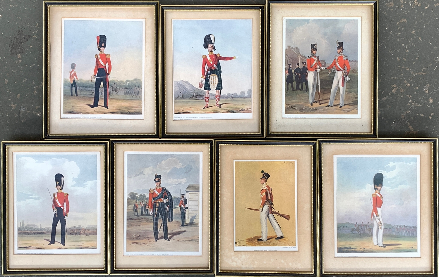 Seven colour prints of infantry officers to include the Highlanders, Fusiliers, Guards, etc (7)