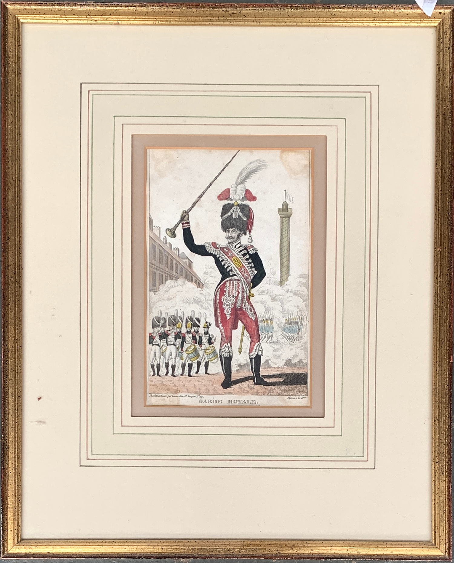 18th century colour after Canu, 'Garde Royale Tambour-Major', 18x12cm; together with a colour