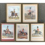Five framed prints depicting Lancers, Dragoons, etc