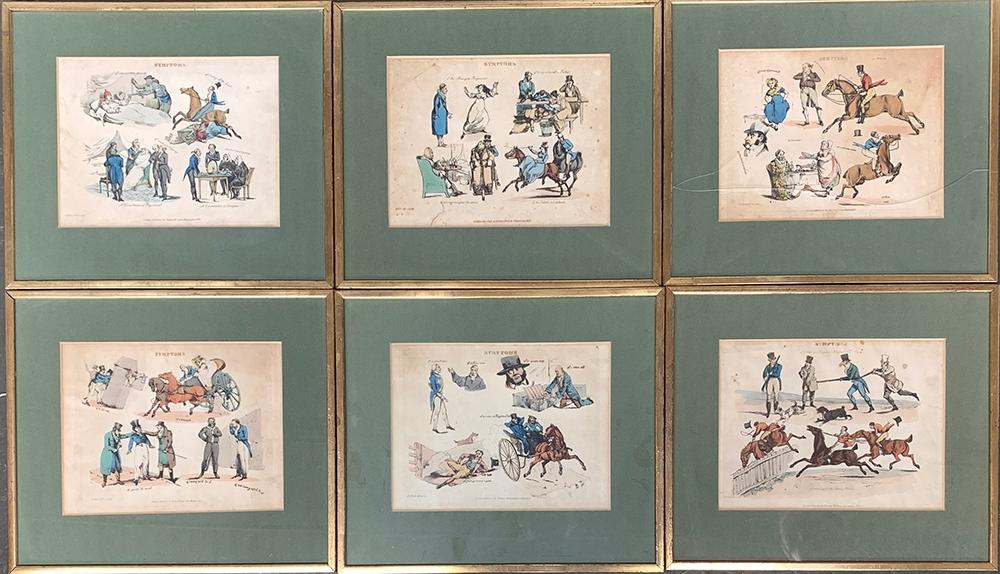 After H. Alken, a set of six 19th century colour engravings, 'Symptoms', each 20x27cm (6)