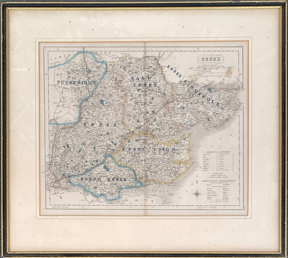 A 19th hunting map of Essex, by J & C Walker, displaying the hunt countries, framed and glazed,