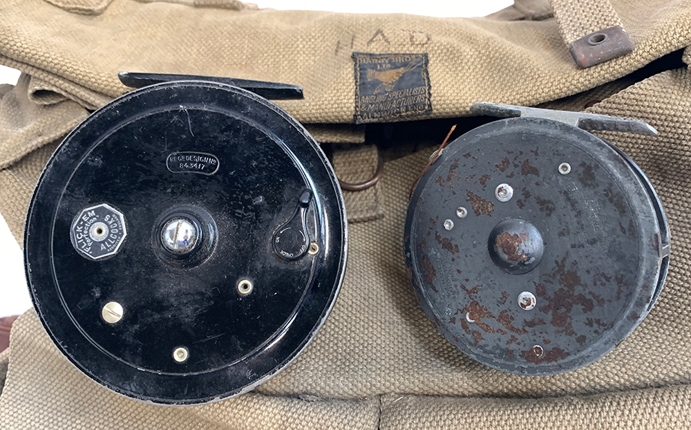 A Hardy Bros. Ltd Alnwick heavy duty canvas fly fishing bag; various nylon casts with flies and - Image 2 of 2