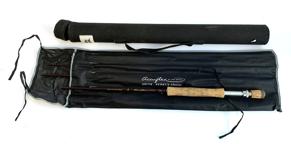 """Abu Garcia Accuflex 9'6"""" five section travel fly rod #6/7/8 in travel tube and bag"""
