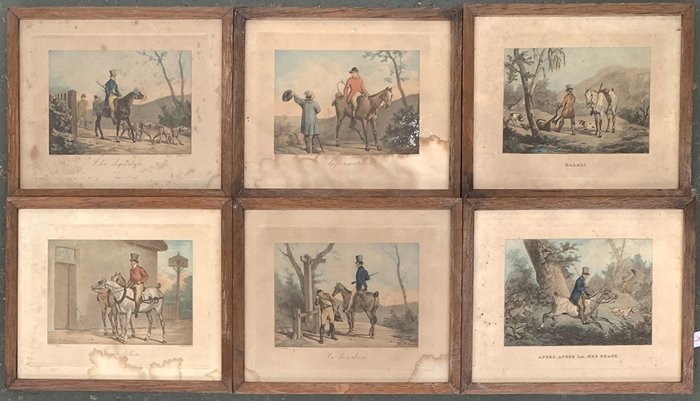 After H. Vernet, a set of six colour engravings depicting huntsmen, each 17x21cm; together with a