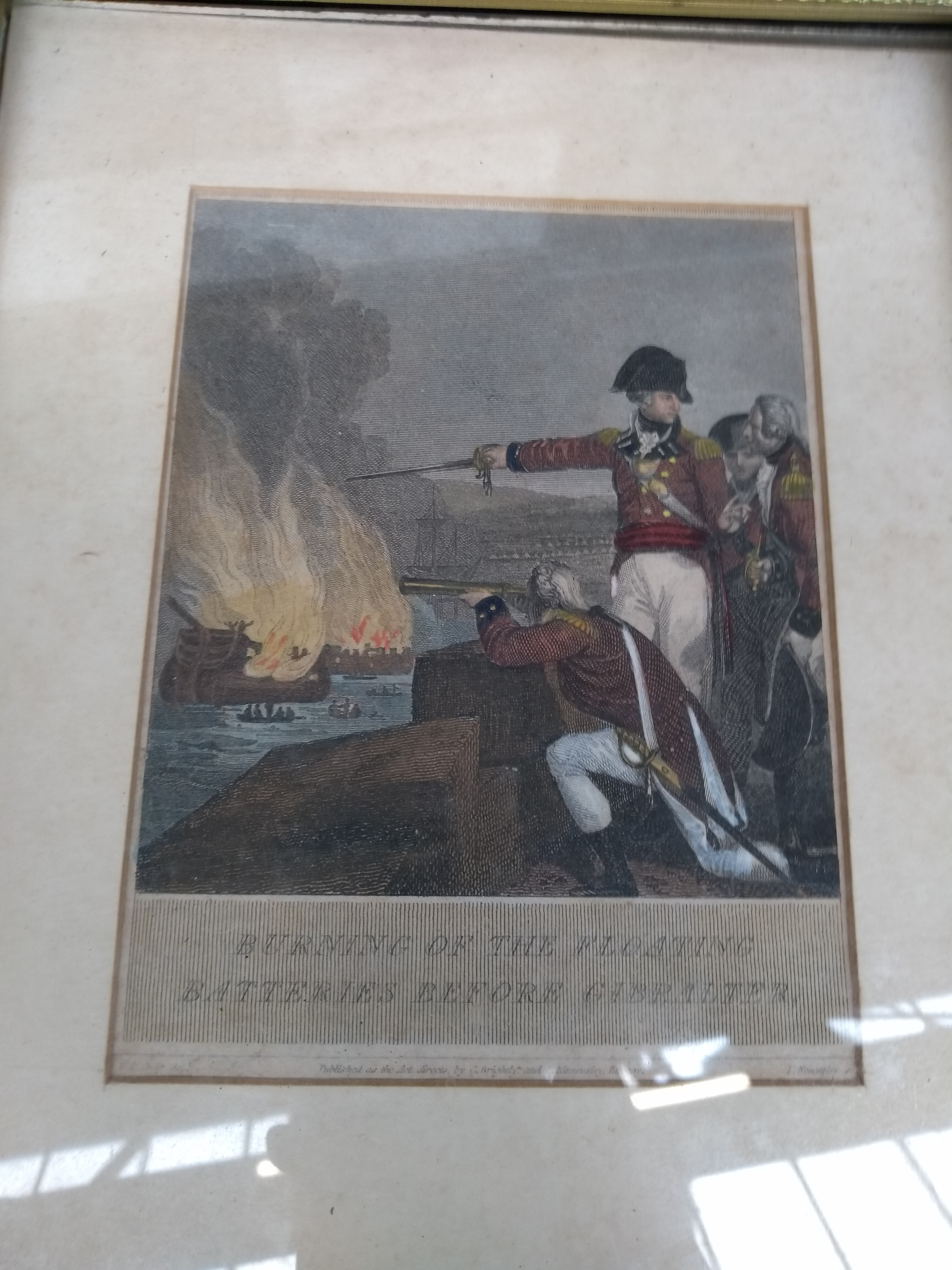 An 18th century coloured engraving 'Burning of the Floating Batteries before Gibraltar', 16x13cm; - Image 2 of 2