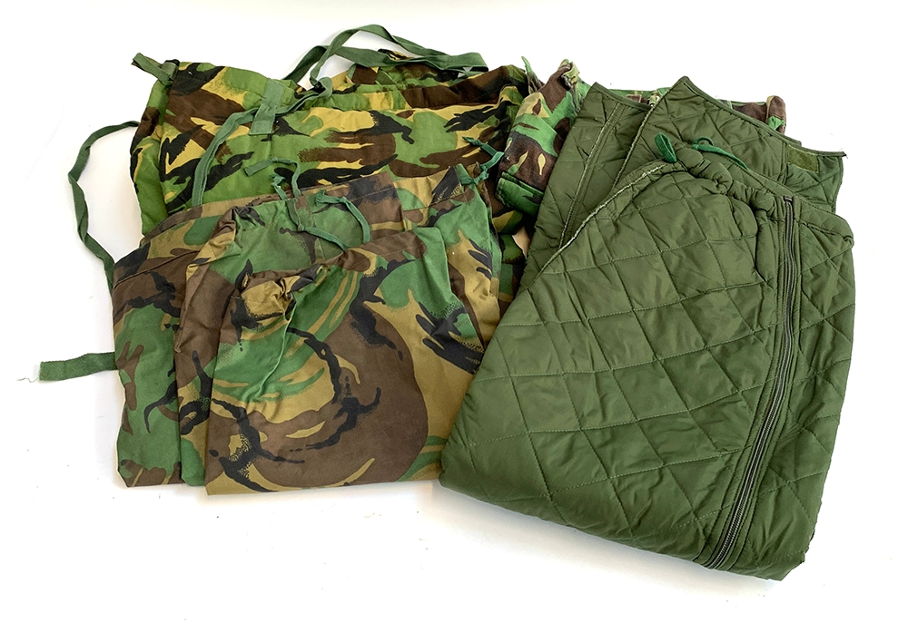 A pair no.1 MK 111 suit protective size large; Together with another pair of camo army military