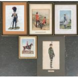 A collection of colour prints depicting military uniforms including The Cameronians, Duke of