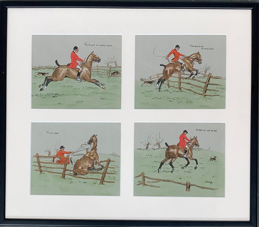 Snaffles (Charles Johnson Payne, 1884-1967), a set of four prints depicting a hunt follower