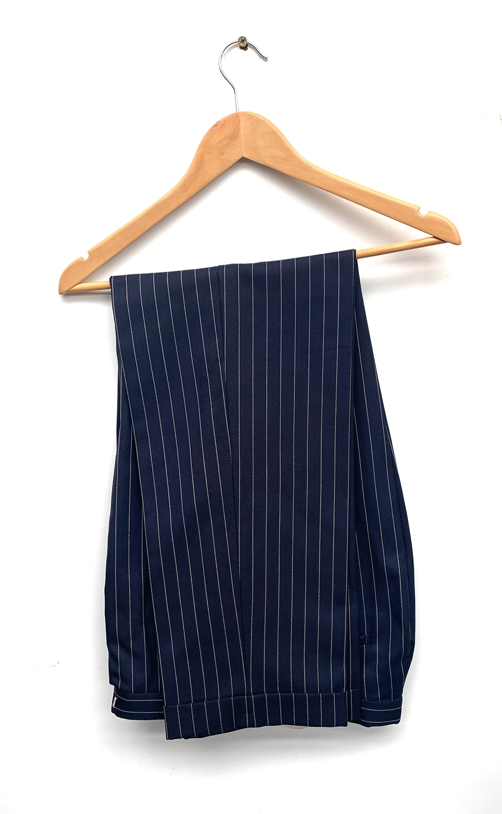 """A gent's single breasted wool pinstripe suit, blue lining silk, size 38"""" chest, the trousers with - Image 2 of 3"""