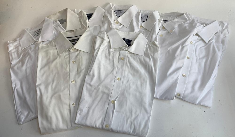 "Ten white cotton shirts 17/17 1/2 "" collars, to include T.M Lewin, Charles Tyrwhitt etc"