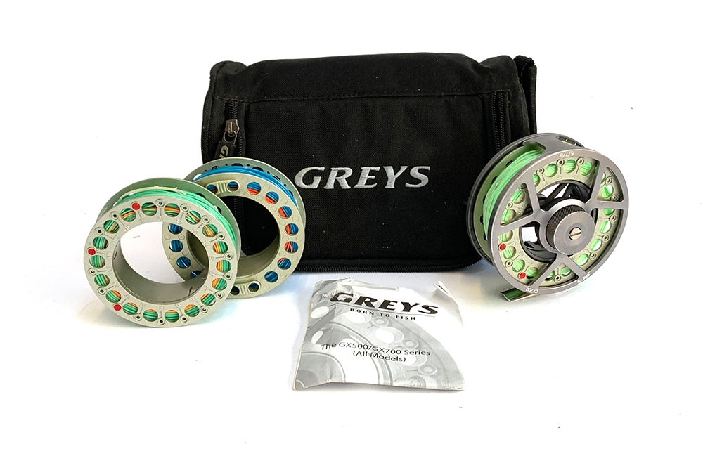 Greys GX700 #6/7/8 flyfishing reel loaded with floating line and two further spare spools with