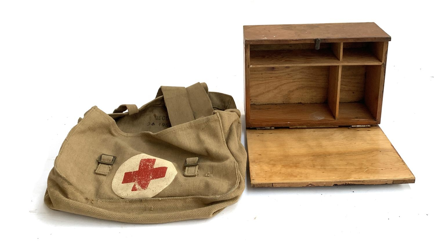 A 1950s military canvas first aid bag and fitted cabinet, 28cmW - Image 2 of 2
