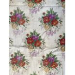 A pair of floral curtains, lined, 200cm drop, 120cm wide ungathered; together with two further