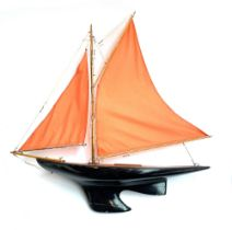 A gaff rigged pond yacht with lead keel, 80cm long, approximately 84cm high