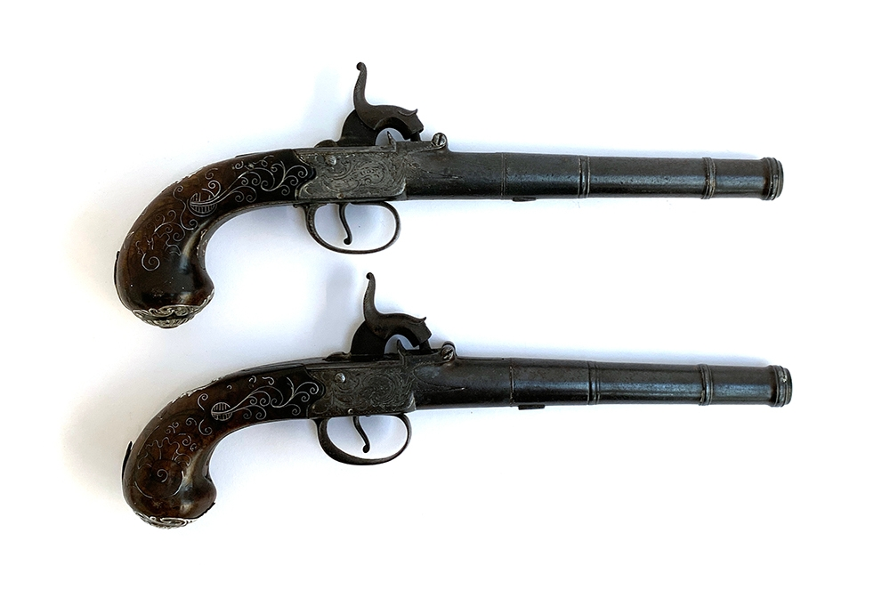 A pair of 19th century percussion duelling pistols, each having a 17cm Queen Anne type cannon - Image 2 of 3