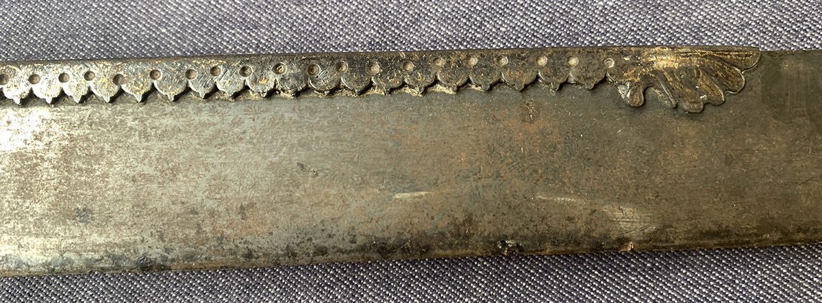 Indian Talwar Sword with straight blade, with applied worked gilt metal decoration, the blade 76cm - Image 4 of 6