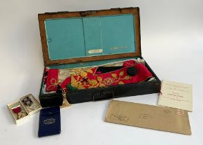 Masonic interest: a black painted box from D.R. Taylor, Nailsworth Gloucestershire, containing