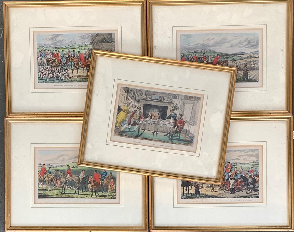 After John Leech, a set of five framed colour prints from 'Mr Jorrocks', each 12x18cm