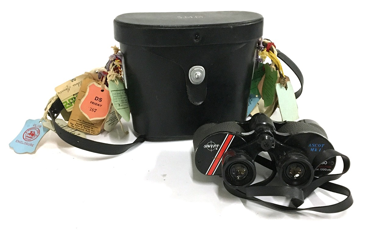 A pair of Swift Ascot Mk I 8x30 binoculars, with leather carry case and race day labels