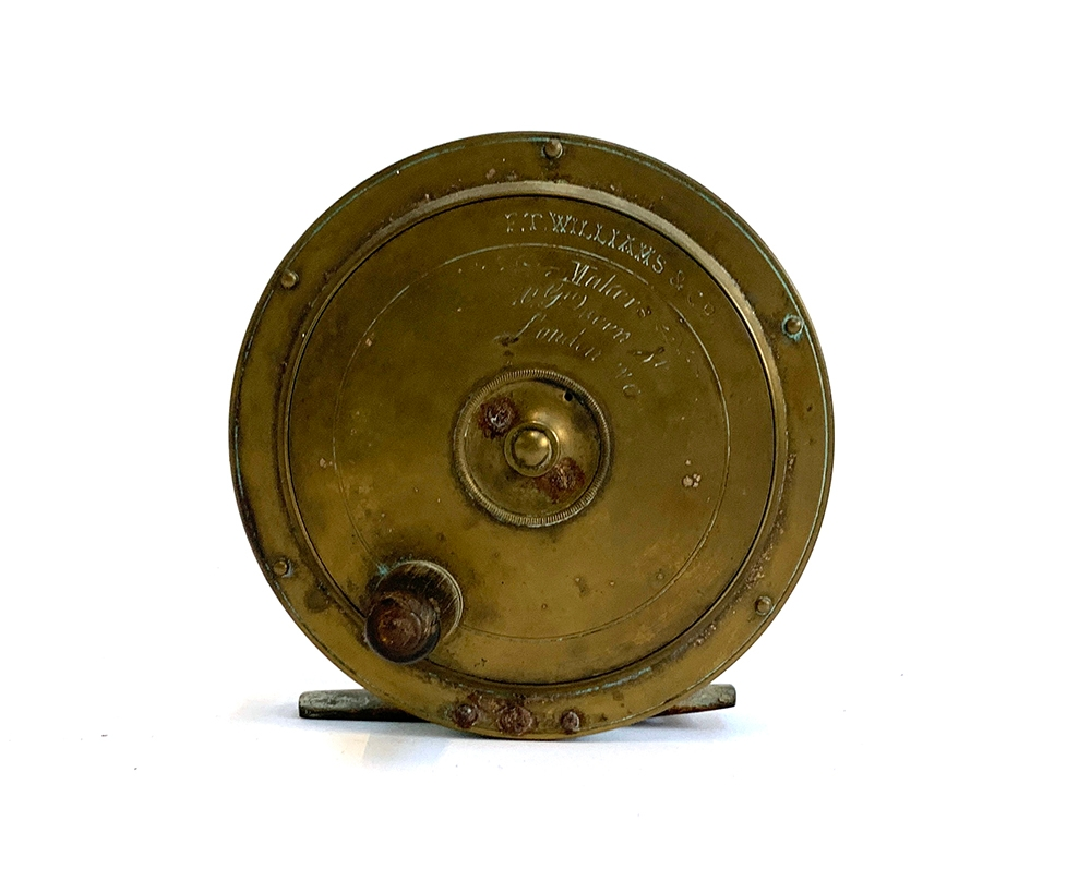 """F.T Williams & Co Makers 10 Gt Queen St London WC brass combination salmon reel: 4.5"""" dia, tapered"""
