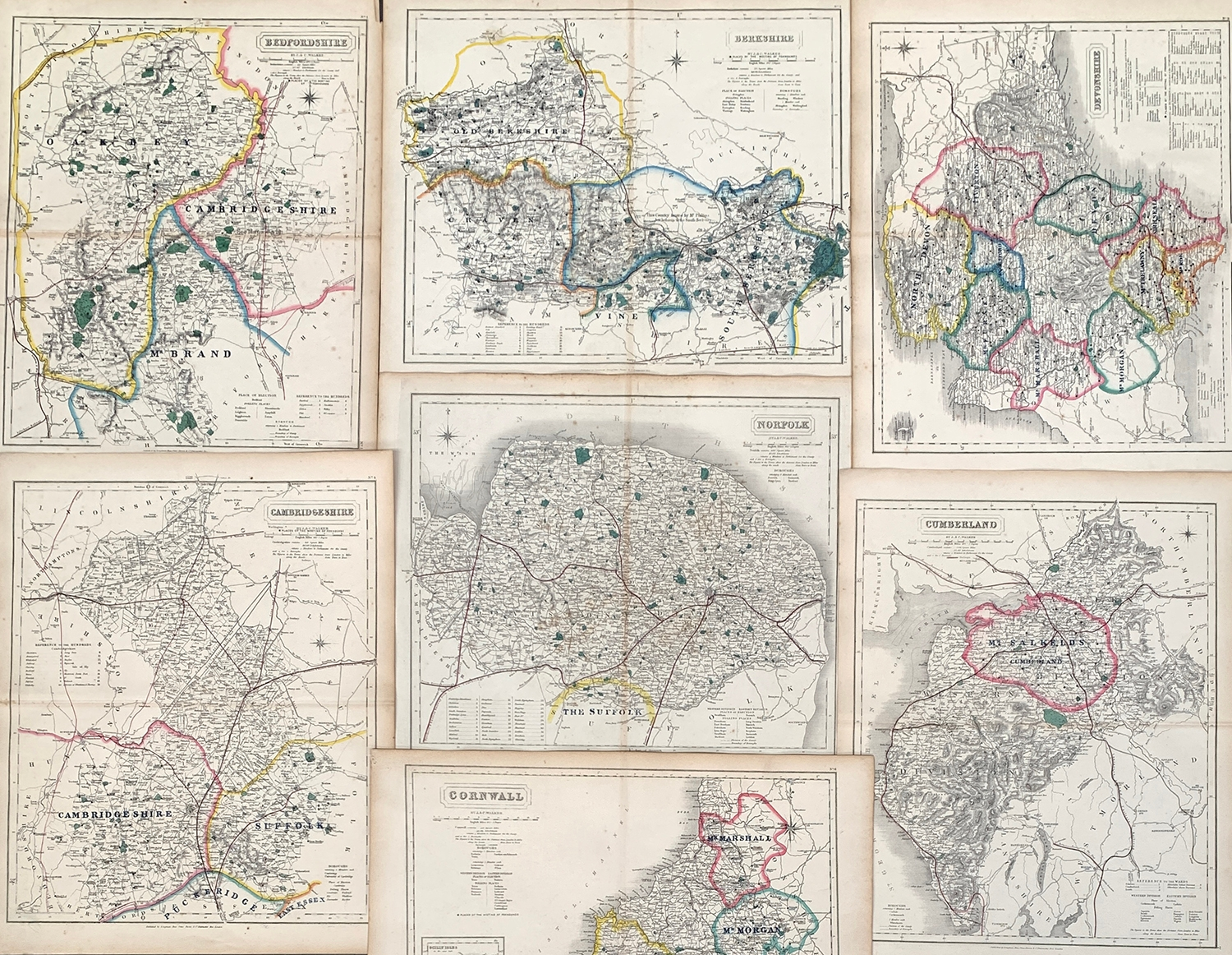 A collection of 23 19th century hunting maps by J & C Walker, 'Places of the Meetings of Foxhounds',