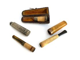 A cased 19th century silver mounted meerschaum and amber cheroot holder, hallmarked; together with a