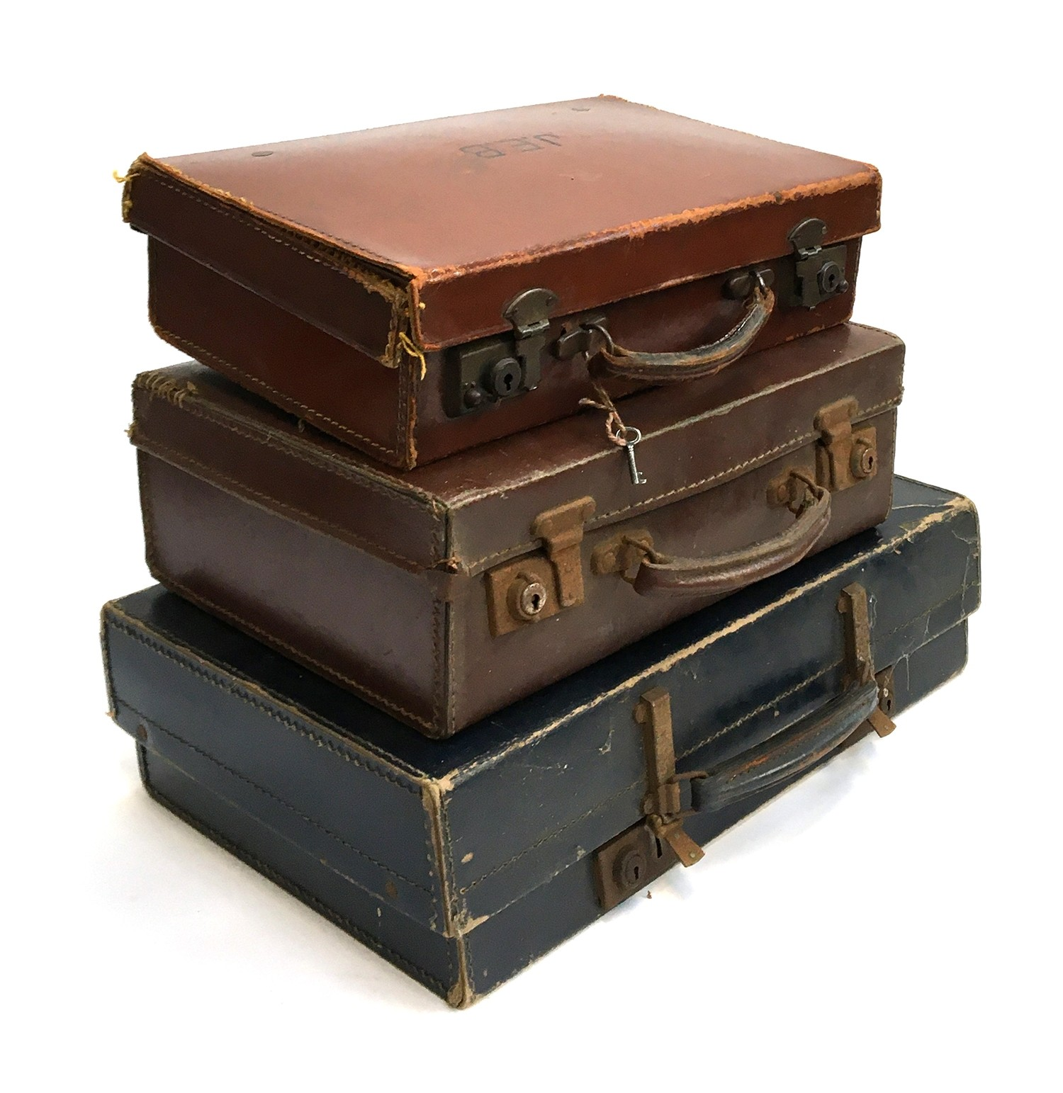 Three gent's small suitcases, the largest 46cm wide
