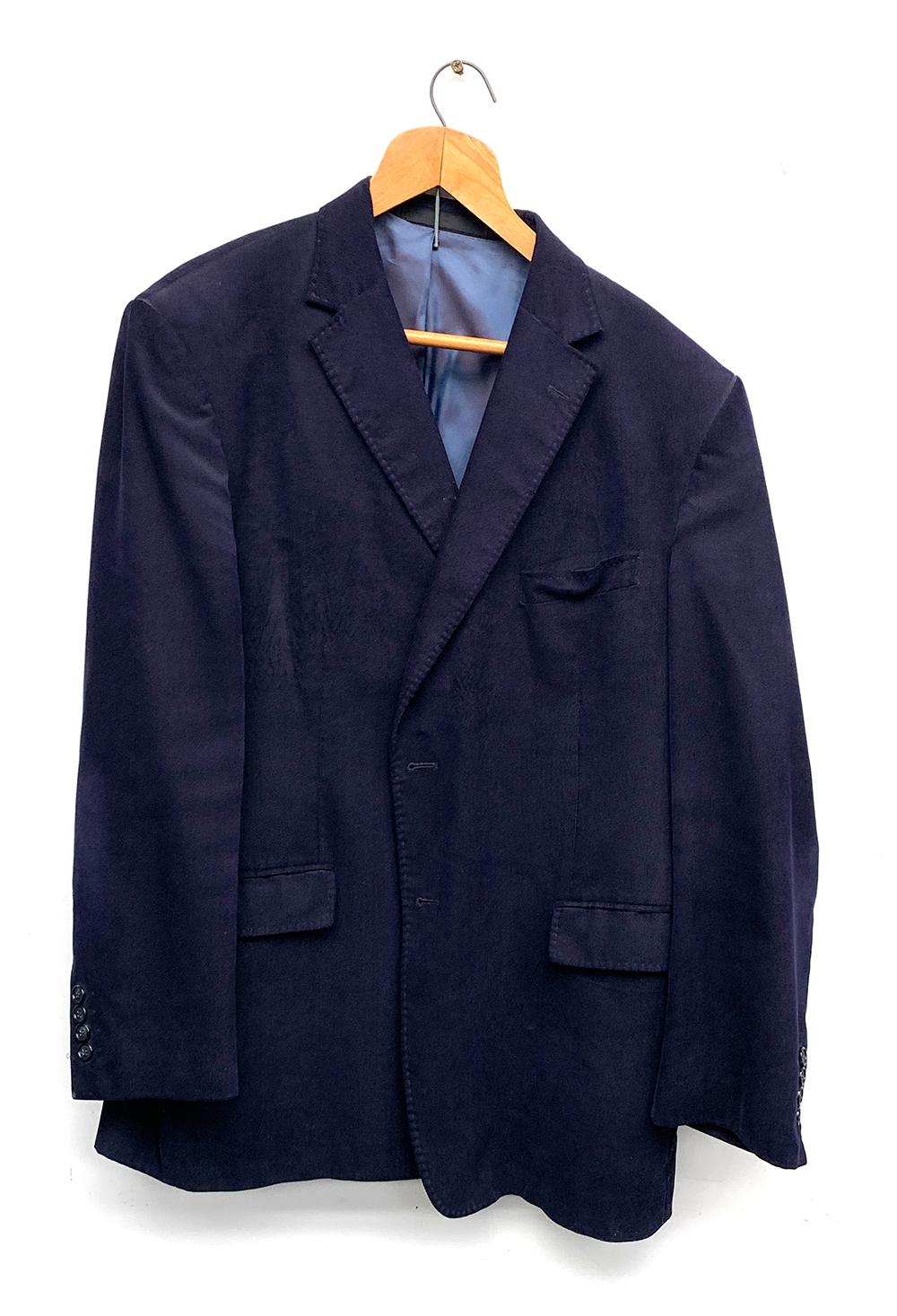 "A needlepoint navy cord jacket, chest 44"""