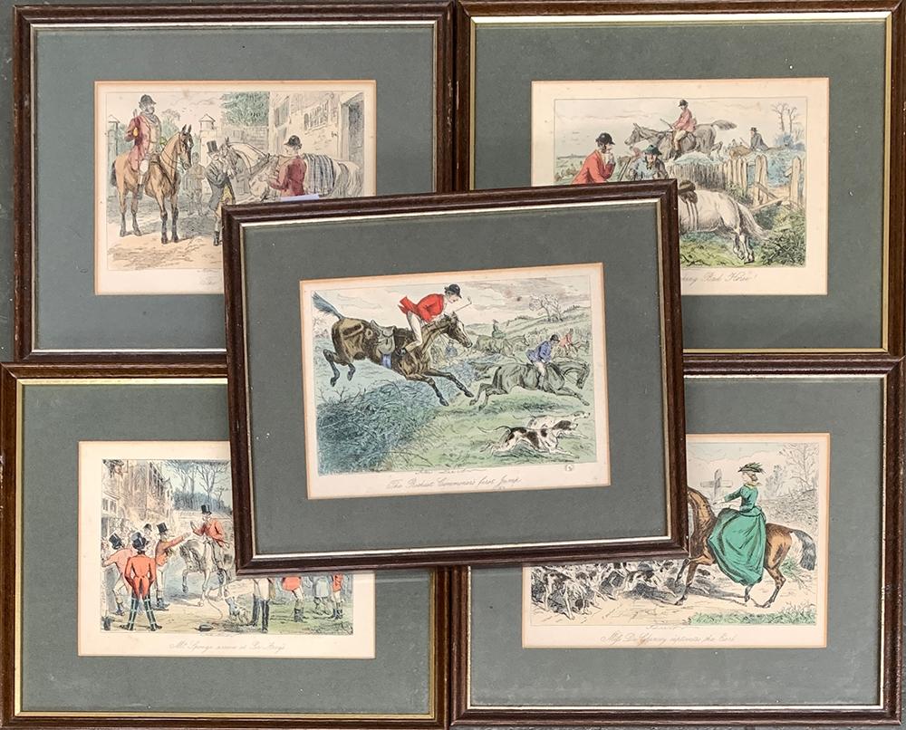 After John Leech, a set of five framed humorous hunting prints, each 13x18cm