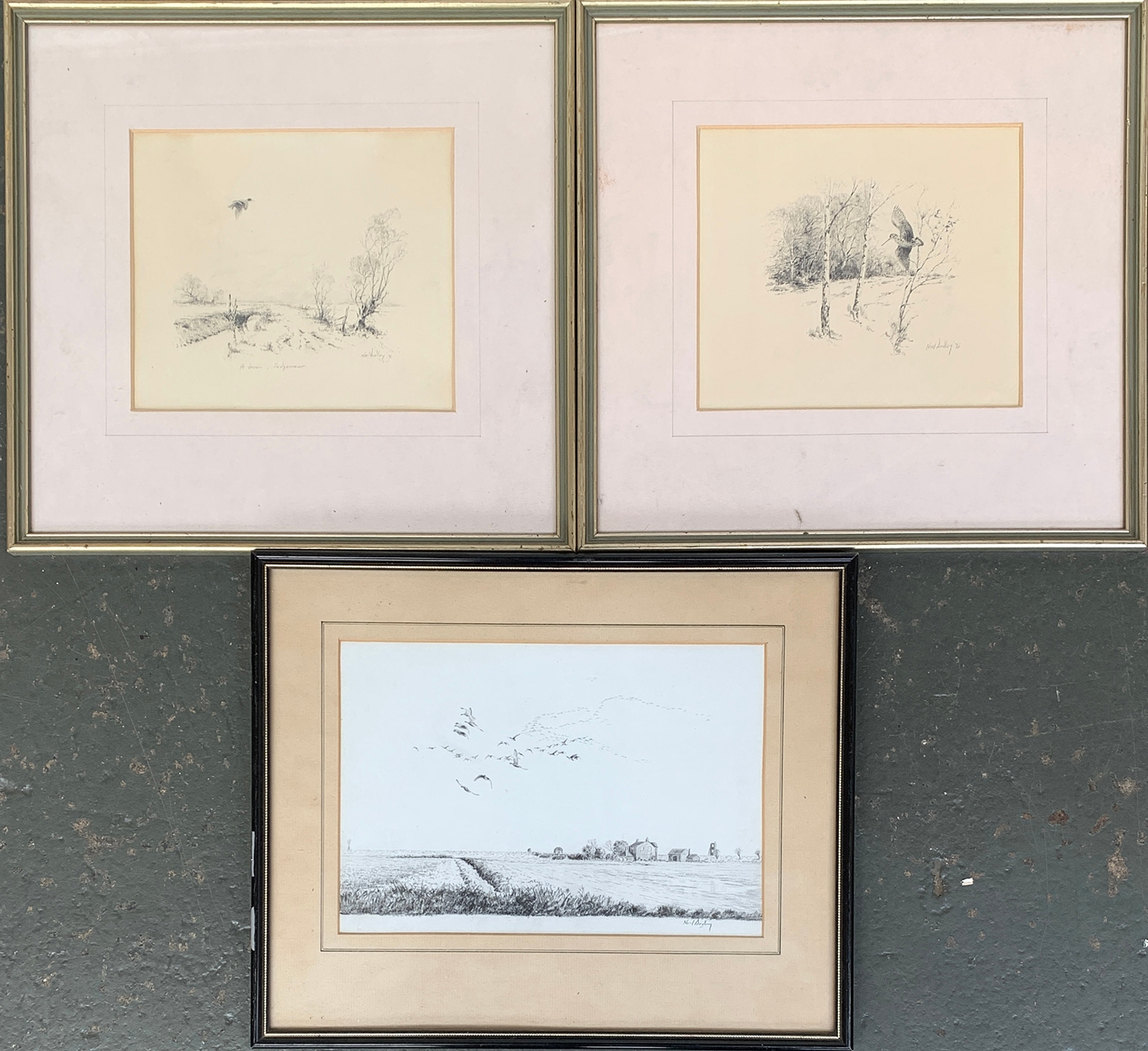Noel Dudley (1896-1975), pencil sketches 'A Dream - Sedgemoor' (duck in flight), and woodcock in