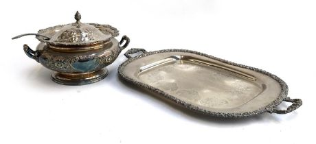 A plated lidded punch bowl, chased with flowers, with kings pattern ladle; together with a large