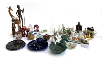A mixed lot to include enamel and brass trinket pot; crested ware'; paperweights; bird figurines etc