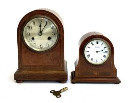 A mahogany domed mantel clock, dial marked Grey Brooke Dorchester, 17cmH; together with one other