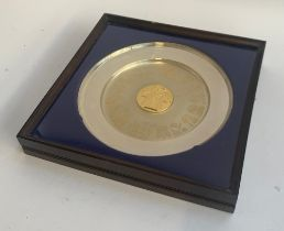 A silver and silver gilt commemorative plate 'The College of Arms Coronation of Elizabeth II 1953-