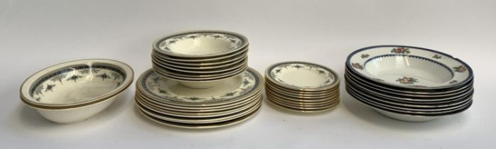 A Minton Grassmere part dinner service, 27 pieces; together with Booths bowls with fruit decoration